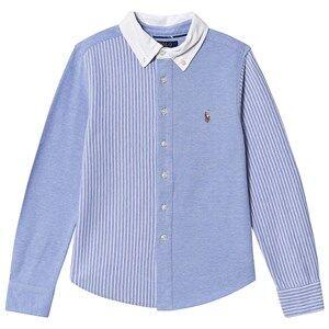 Ralph Lauren Striped Fun Pique Oxford Shirt Blue/White 4 years