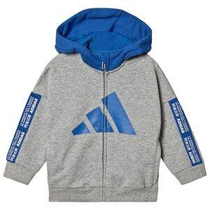 Image of adidas Performance Logo Full Zip Hoodie Grey/Blue 3-4 years (104 cm)