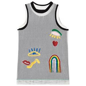 Image of Stella McCartney Kids Mesh Overlay Embroidered Tank Dress Black/ White 4 years