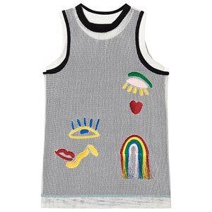 Image of Stella McCartney Kids Mesh Overlay Embroidered Tank Dress Black/ White 12 years