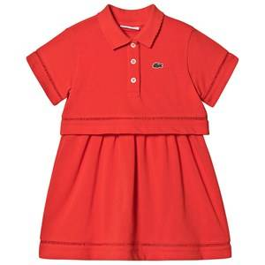 Lacoste Branded Pique Polo Layered Dress Bright Red 2 years