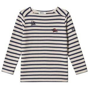 Bonpoint Stripe Long Sleeve Tee Navy/Cream 12 years