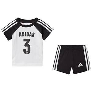 adidas Performance Sport Logo Infants Top & Shorts Set Black/White 0-3 months (62 cm)