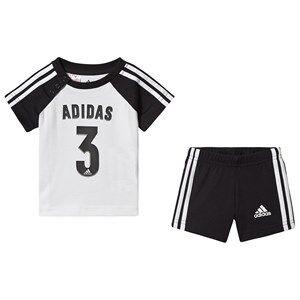 adidas Performance Sport Logo Infants Top & Shorts Set Black/White 3-6 months (68 cm)