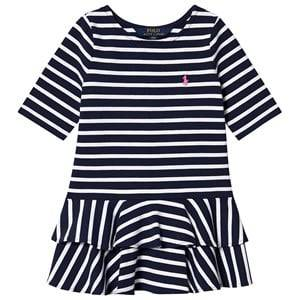 Image of Ralph Lauren Navy and White Stripe Ruffle Jersey Dress with Small PP 5 years