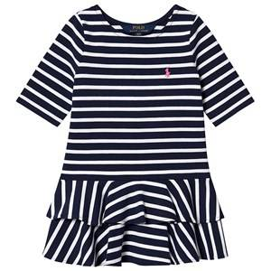Image of Ralph Lauren Navy and White Stripe Ruffle Jersey Dress with Small PP 3 years