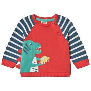 Frugi Dinosaur Knit Sweater Red 3-4 years