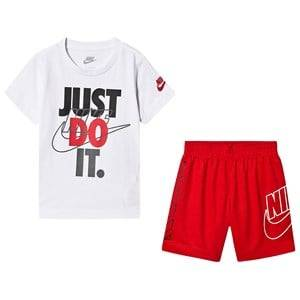NIKE 2-Piece Set Shorts and T-Shirt White/Red 3-4 years