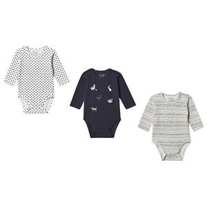 Image of Hust&Claire; 3-Pack Base Baby Body Blue Night 56 cm (1-2 Months)