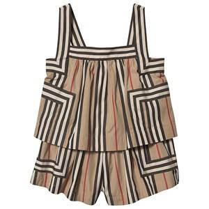 Burberry Icon Stripe Layered Romper Archive Beige 4 years