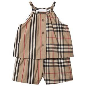 Burberry Vintage Check Layered Baby Romper Archive Beige 12 months