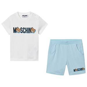 Moschino Kid-Teen Logo Tee and Shorts Set White/Blue 9-12 months