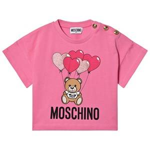 Moschino Kid-Teen Heart Balloons Cropped Tee Pink 12 years