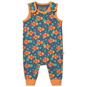 Frugi Fish Kneepatch Overalls Blue 2-3 years