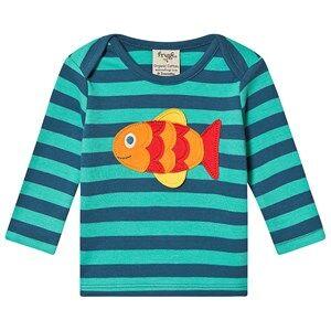 Frugi Fish Stripe Tee Blue 3-4 years