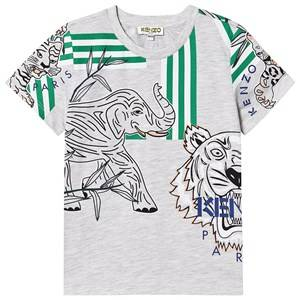 Kenzo Allover Logo Tee Light Marl Grey 5 years