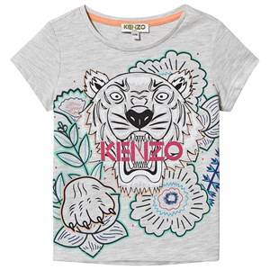 Kenzo Floral Tiger Logo Tee Light Marl Grey 12 years