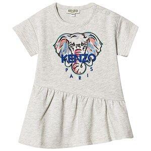 Image of Kenzo Embroidered Elephant Logo Dress Light Marl Grey 9 months