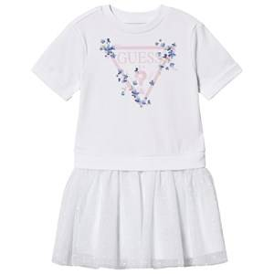 Image of Guess Floral Branded Tulle Skirt Dress White 4 years