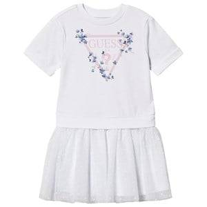 Image of Guess Floral Branded Tulle Skirt Dress White 2 years