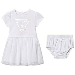 Image of Guess Floral Logo Tulle Skirt Dress with Bloomers White 12 months