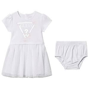 Image of Guess Floral Logo Tulle Skirt Dress with Bloomers White 18 months