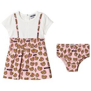 Image of Moschino Kid-Teen Bear Print Baby Dress Pink 2 years