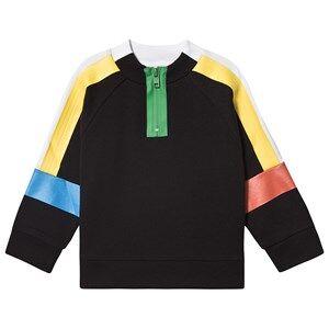 Stella McCartney Kids Sport Color Block Half Zip Sweatshirt Black 12 years
