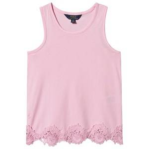 Image of Ralph Lauren Pink Lace Hem Tank Top 2 years