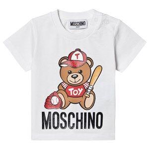 Moschino Kid-Teen Baseball Bear Logo Baby Tee White 9-12 months