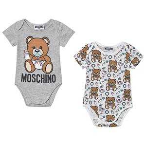 Image of Moschino Kid-Teen Logo Baby Body 2-Pack White and Grey 1-3 months