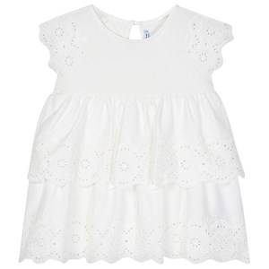 Image of Mayoral Jersey Layered Embroidered Dress White 6 years