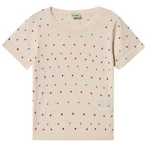 FUB Dot T-Shirt Ecru/Red/Blue 100 cm (3-4 Years)