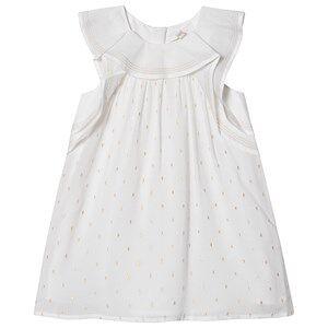 Image of Chlo Ruffled Sleeve Lurex Baby Dress White 9 months