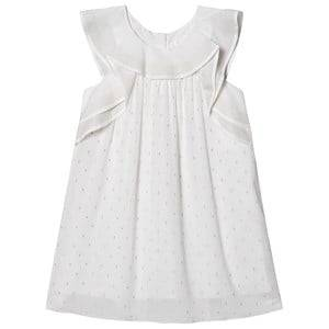 Image of Chlo Ruffled Sleeve Lurex Dress White 6 years