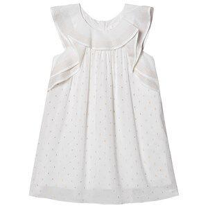 Image of Chlo Ruffled Sleeve Lurex Dress White 4 years
