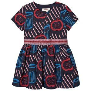 Image of Catimini Tomato Print Dress Navy/Blue/Red 2 years