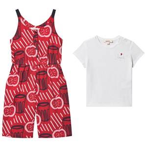 Image of Catimini Apple Print Jumpsuit and Tee Set Red/Navy/White 3 years