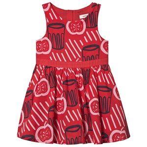 Image of Catimini Apple Print Dress Red/Navy 2 years