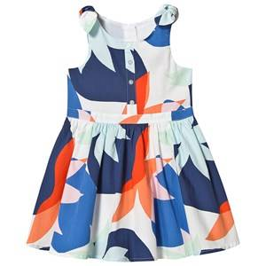 Image of Catimini Abstract Flower Print Dress White/Blue/Orange 3 years