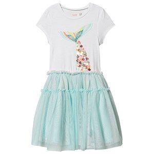 Image of Billieblush Tulle Skirt Mermaid Print Dress White/Pale Blue 10 years
