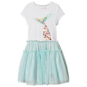 Image of Billieblush Tulle Skirt Mermaid Print Dress White/Pale Blue 3 years