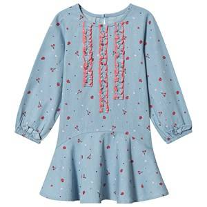 Image of Billieblush Cherry and Apple Print Dress Blue Chambray 8 years