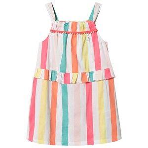 Image of Billieblush Stripe Dress Pom Pom Trim White/Multi 3 years