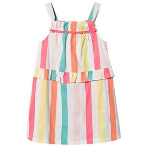 Image of Billieblush Stripe Dress Pom Pom Trim White/Multi 4 years