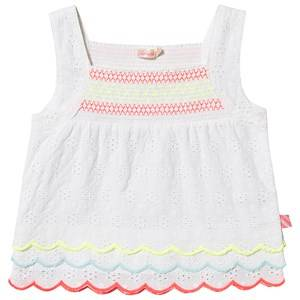 Image of Billieblush Broderie Anglaise Smock Neon Detail Top White 12 years