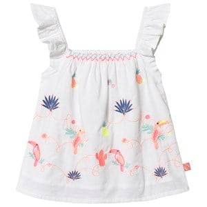 Image of Billieblush Ruffle Sleeve Embroidered Toucan Print Blouse White 3 years