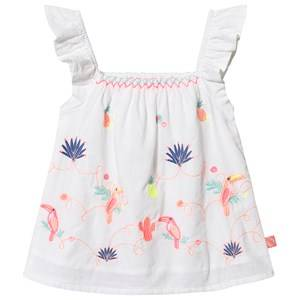Image of Billieblush Ruffle Sleeve Embroidered Toucan Print Blouse White 6 years