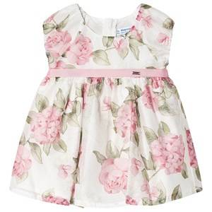 Image of Mayoral Floral Puff Sleeve Dress White/Pink 9 months