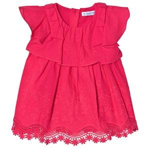 Image of Mayoral Floral Embroidered Ruffle Dress Red 6 months